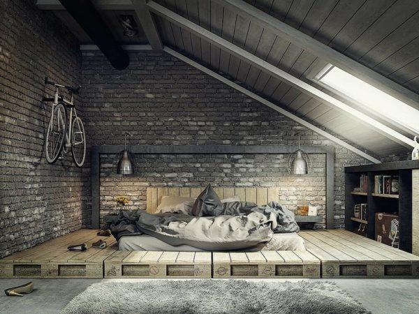 Красивая дизайнерская мебель – кровать в стиле лофт