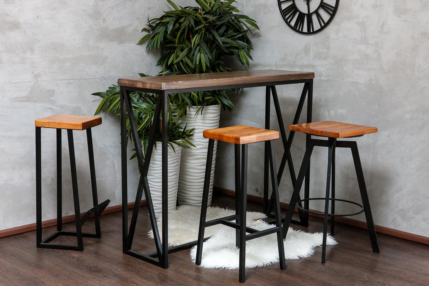 Барные стулья в стиле лофт для дома