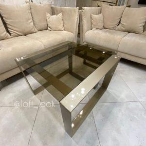 Журнальный стол из металла и каленого стекла