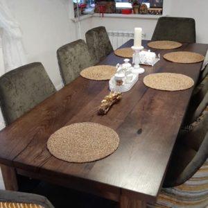 Кухонный стол из трёх слэбов дуба